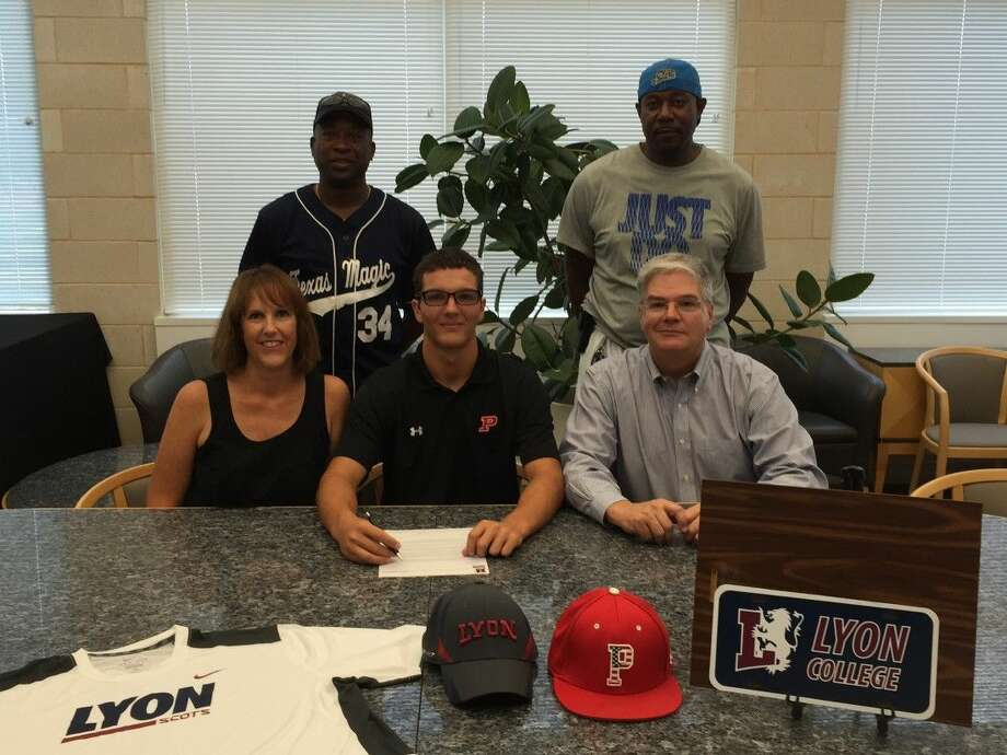 Former Porter Spartan Christopher McCrady signs his National Letter of Intent to play baseball at Lyon College surrounded by family and mentors on Aug. 5, 2015. (Back Row (from L to R): Warren Smith and Anthony Young. Front Row (From L to R) Allison McCrady, Christopher McCrady and Frank McCrady.)