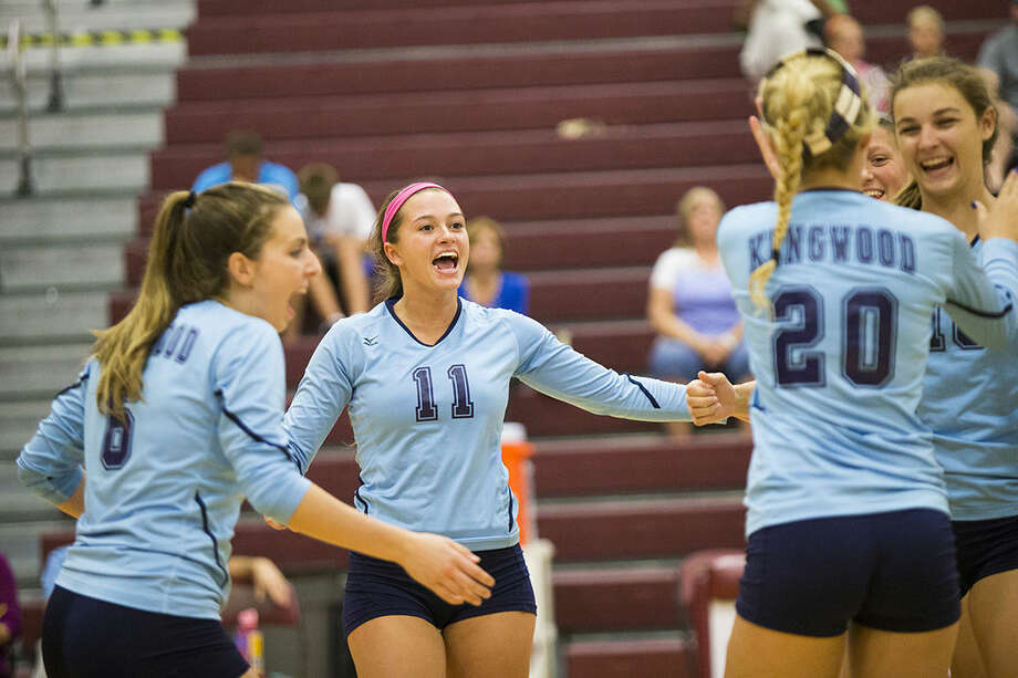 The Mustangs celebrate a point during Kingwood's 3-0 victory over Summer Creek on Sept. 16, 2014, at Summer Creek High School. Photo: ANDREW BUCKLEY