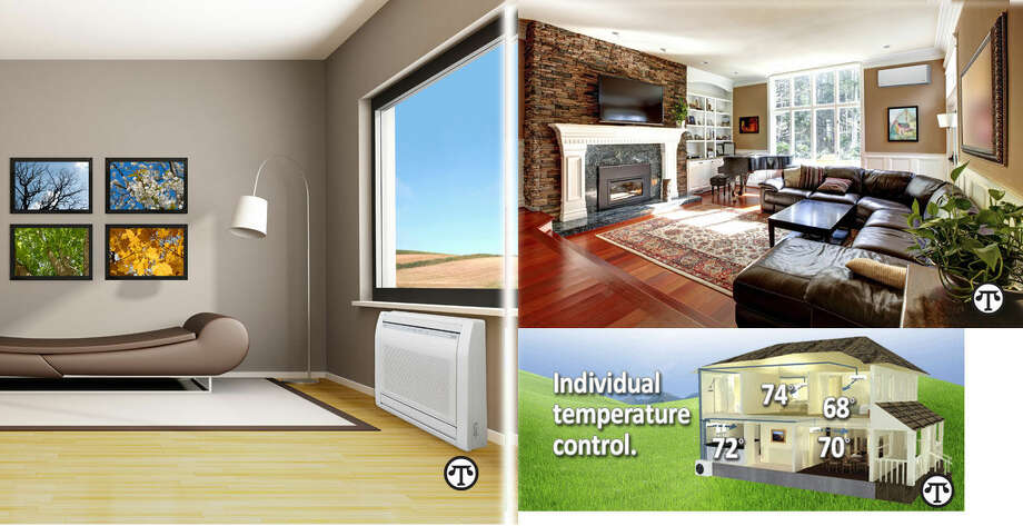 Wall-mounted indoor units are sleek and can be installed high on the wall. Floor mounted indoor units are excellent solutions for rooms with minimal wall space. (NAPS)