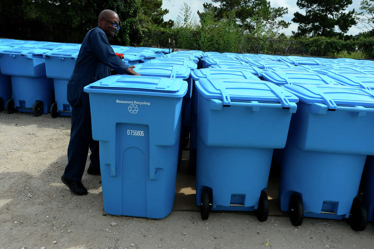 Bengy Williams, Beaumont Solid Waste manager, shows the 501 blue recycling bins on hand for customers who sign up for curbside recycling. The recycling program is scheduled to begin Oct. 31. Photo taken Tuesday 10/4/16 Ryan Pelham/The Enterprise