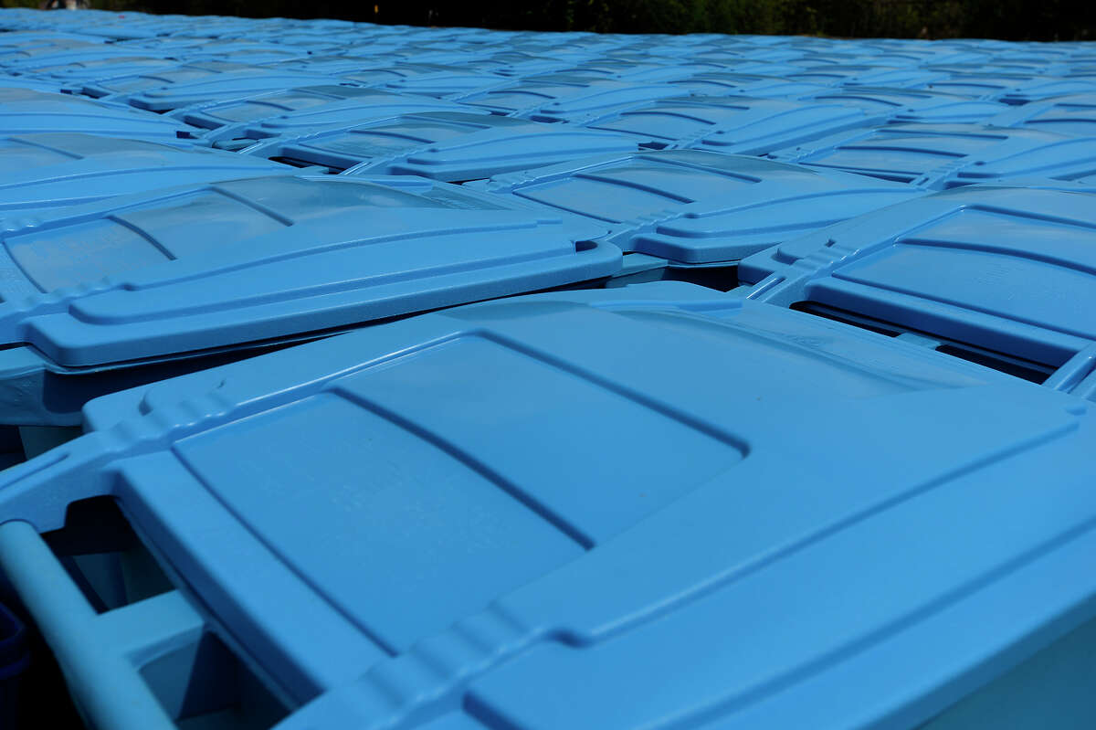 Beaumont Solid Waste has 501 blue recycling bins on hand for customers who sign up for curbside recycling. The recycling program is scheduled to begin Oct. 31. Photo taken Tuesday 10/4/16 Ryan Pelham/The Enterprise