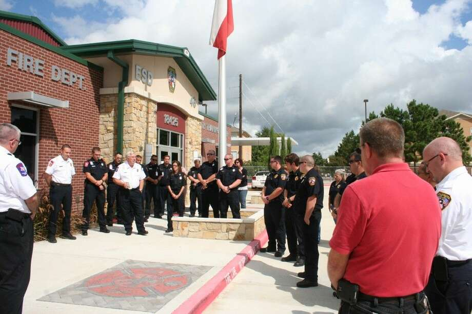 Staff photo by Jannise JohnsonSeveral Atascocita firefighters gathered late Wednesday morning to remember their fallen colleague and fellow volunteer firefighter, Captain Neal Smith on Sept. 17, 2014.