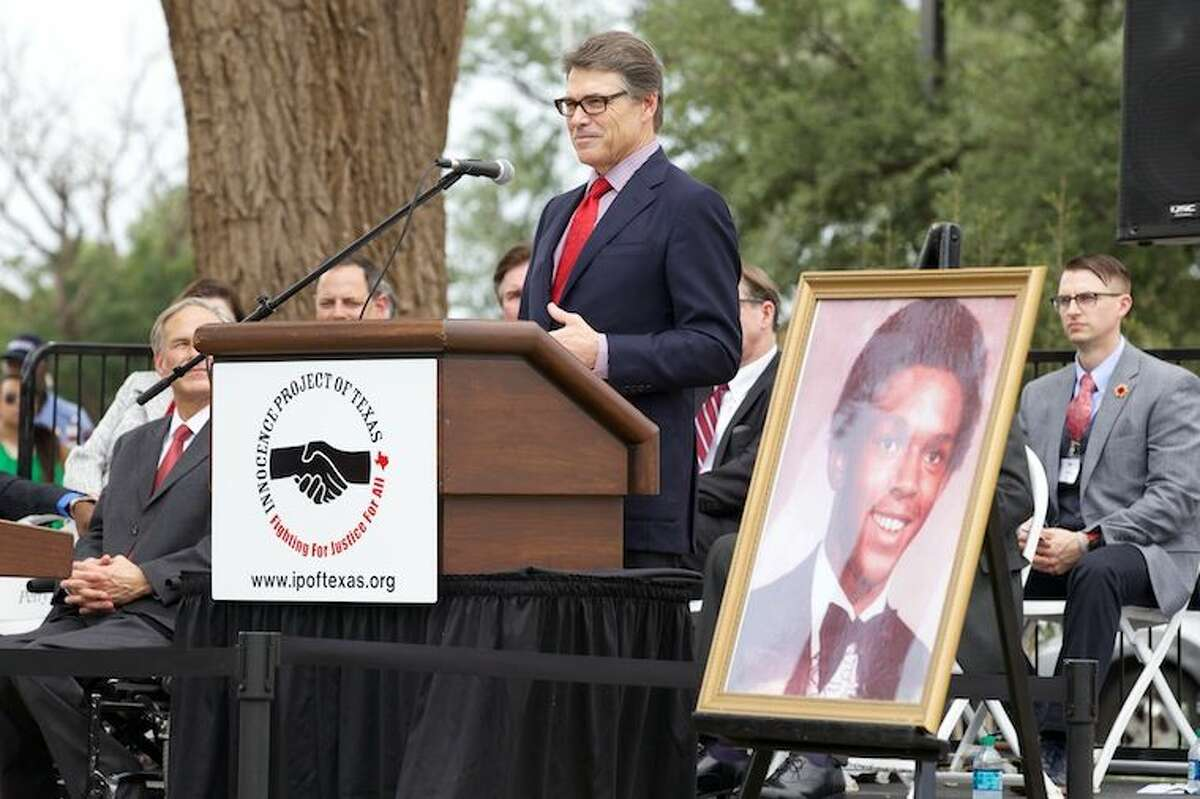 Gov. Rick Perry today helped dedicate a statue in honor of the late Tim Cole, who was wrongfully convicted of rape and died in prison in 1999. Cole was granted a pardon for innocence by Gov. Perry in 2010.