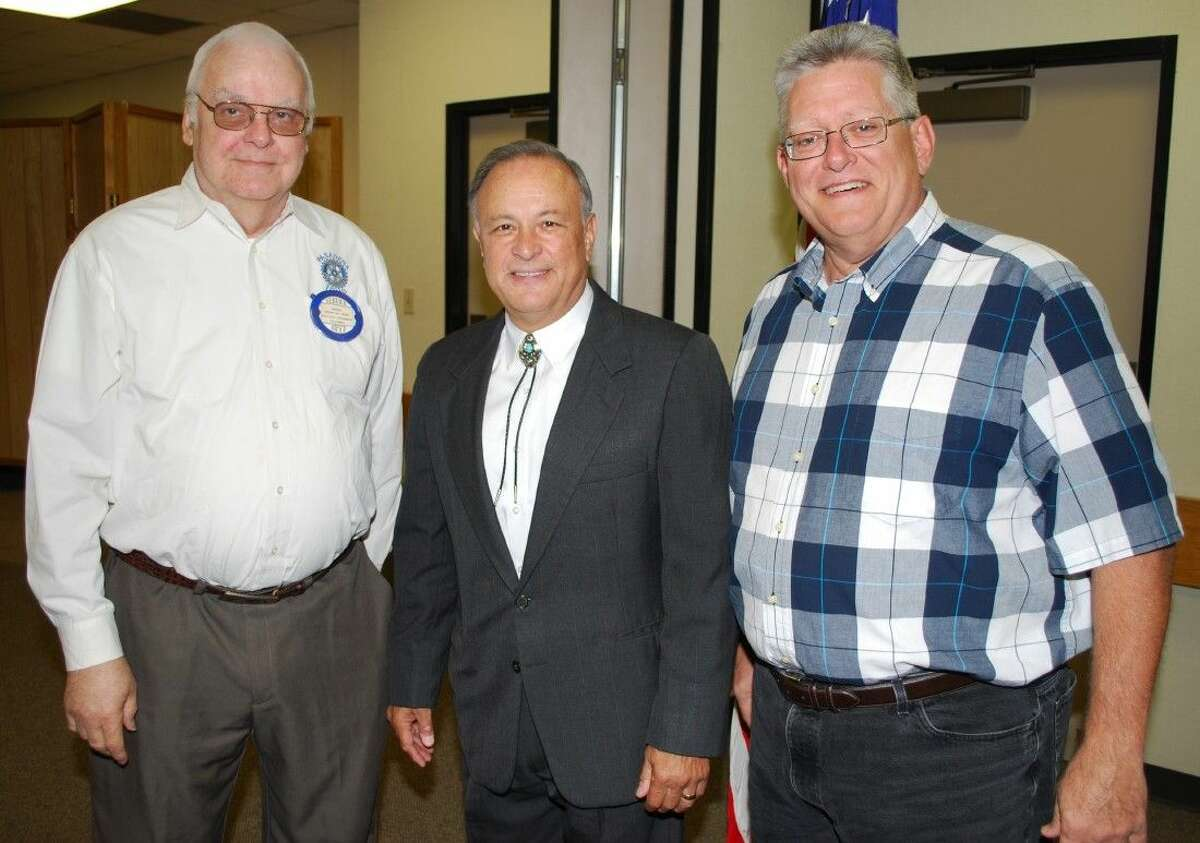 The Pasadena Rotary Club was privileged to welcome Texas Secretary of State Carlos H. Cascos (C) with President-Elect Herman Weber (L) and Rotarian John Moon (R).