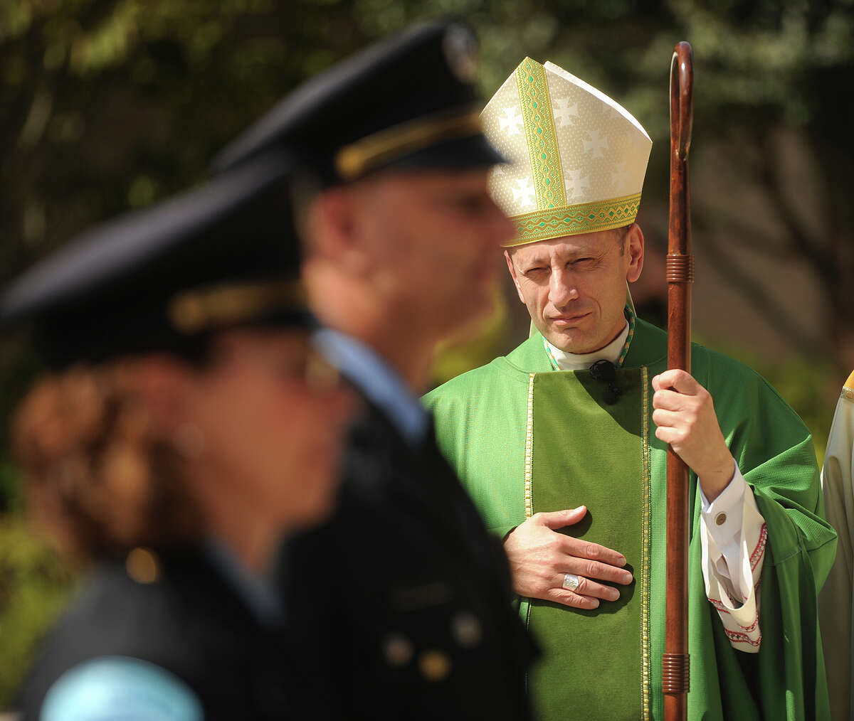 Bishop Frank J. Caggiano attends a mass for emergency responders in Norwalk in 2015.