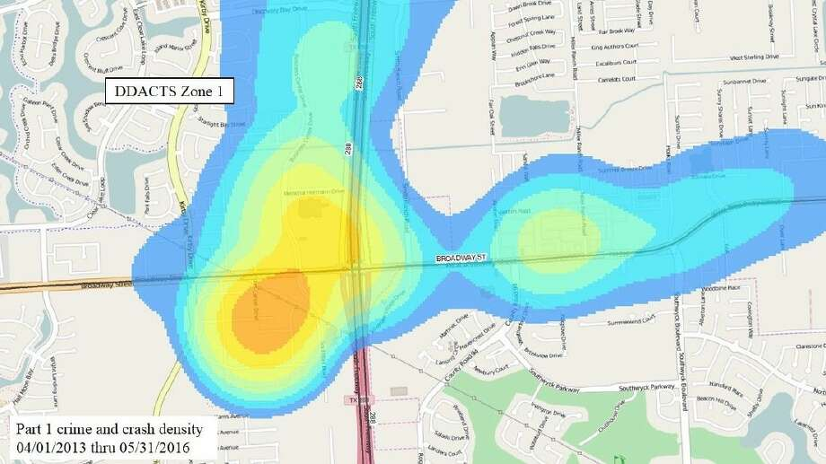 """The initial """"hot zone"""" that will be targeted by the DDACTS initiative. (Map courtesy Pearland PD)."""