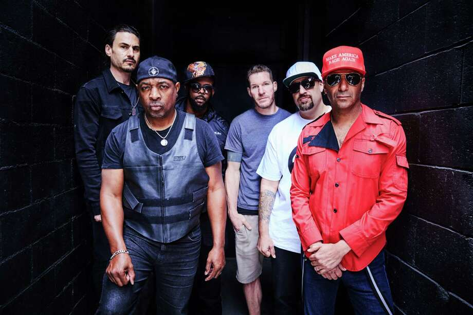 Prophets of Rage, made up of members from Rage Against the Machine, Public Enemy and Cypress Hill,  includes, from left, Brad Wilk, Chuck D, DJ Lord, Tim Commerford, B-Real and Tom Morello. Photo: Danny Clinch