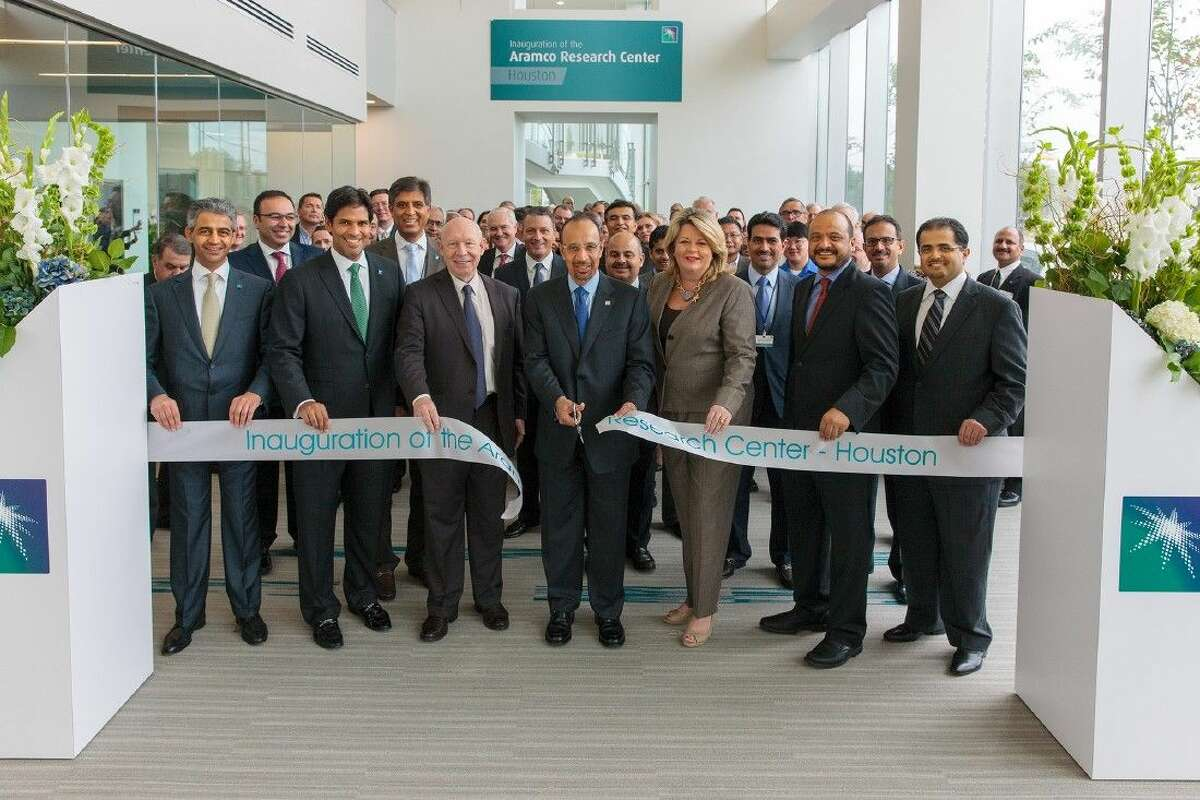 Saudi Aramco President & CEO Khalid A. Al-Falih, center, inaugurates the Aramco Research Center in Houston. He is joined by, from left to right, Mustafa Al-Ali, Director of Research and Development, Aramco Services Company (ASC); Nabeel Amudi, President, ASC ; the Honorable Bill White, former mayor of Houston; Al-Falih; City of Houston Council Member Brenda Stardig; Ahmad Al-Khowaiter, Chief Technology Officer, Saudi Aramco; and Samer Al-Ashgar, President, King Abdullah Petroleum Studies and Research Center.