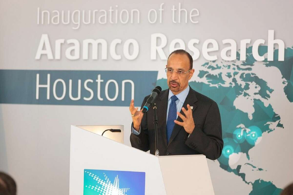 Khalid Al-Falih, Saudi Aramco President & CEO, delivers a keynote address at the inauguration of the company's newest research center in Houston.