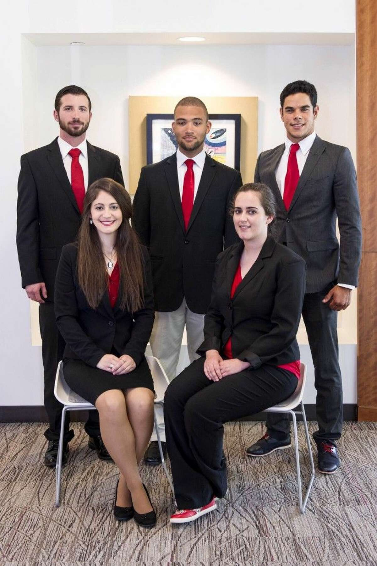 The group consist of Clay Provenza, vice president of Leadership; Jamel Rosemond, president; Raymundo Roig, vice president of Scholarship; in Front Left - Sidney Stockett, vice president of Service and Isabella Nobile, vice president of Fellowship.