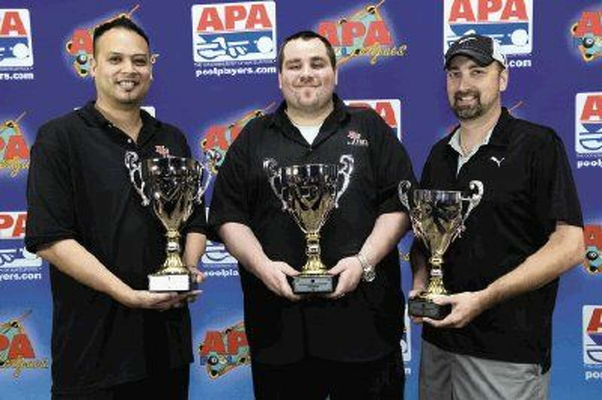 A local billiard team, dubbed Mmmmm K Again by their team captain, took home the 2015 Masters Championship last week in Las Vegas. Pictured are team members Ernesto Bayaua, Billy Sharp and Brent Forster.