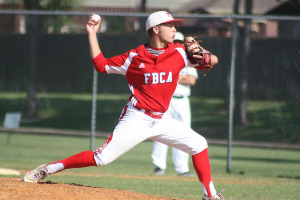 Pitcher Jacob Harding shows the form that kept FBCA's bi-district opponent hitless until the fifth and sixth innings.
