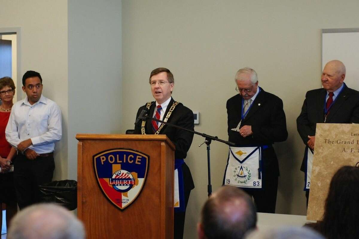 Michael L. Wiggins, Deputy Grand Master of Masons in Texas, conducted the Saturday morning, Sept. 20, ceremony to dedicate the cornerstone for the new police station in Liberty, Texas.