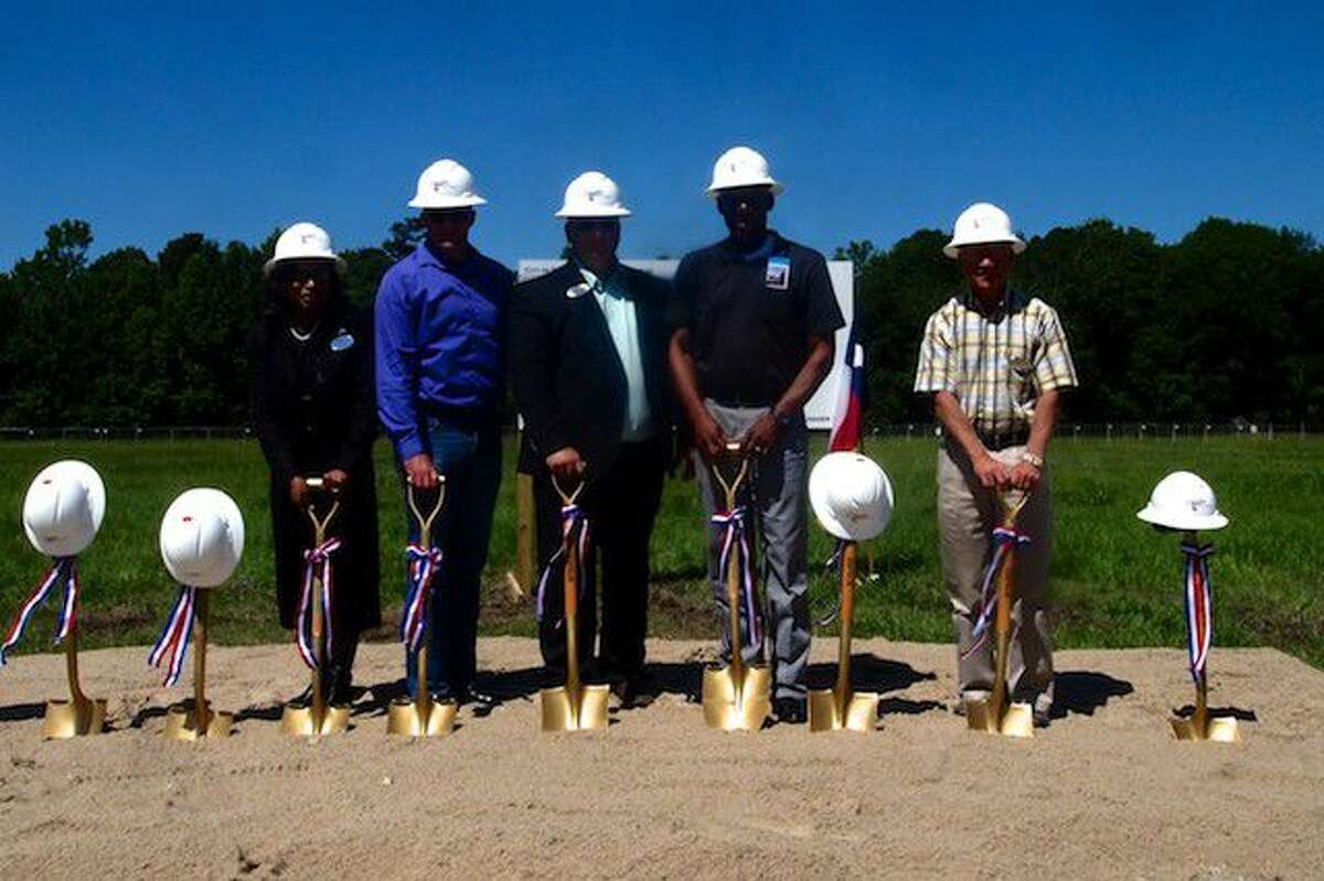 At the groundbreaking Wednesday, May 4, were, from left, City Council Members Sherial Lawson and Josh Townsend, Mayor Jeff Lambright, and Councilors Dwight Pruitt and John Johnson.