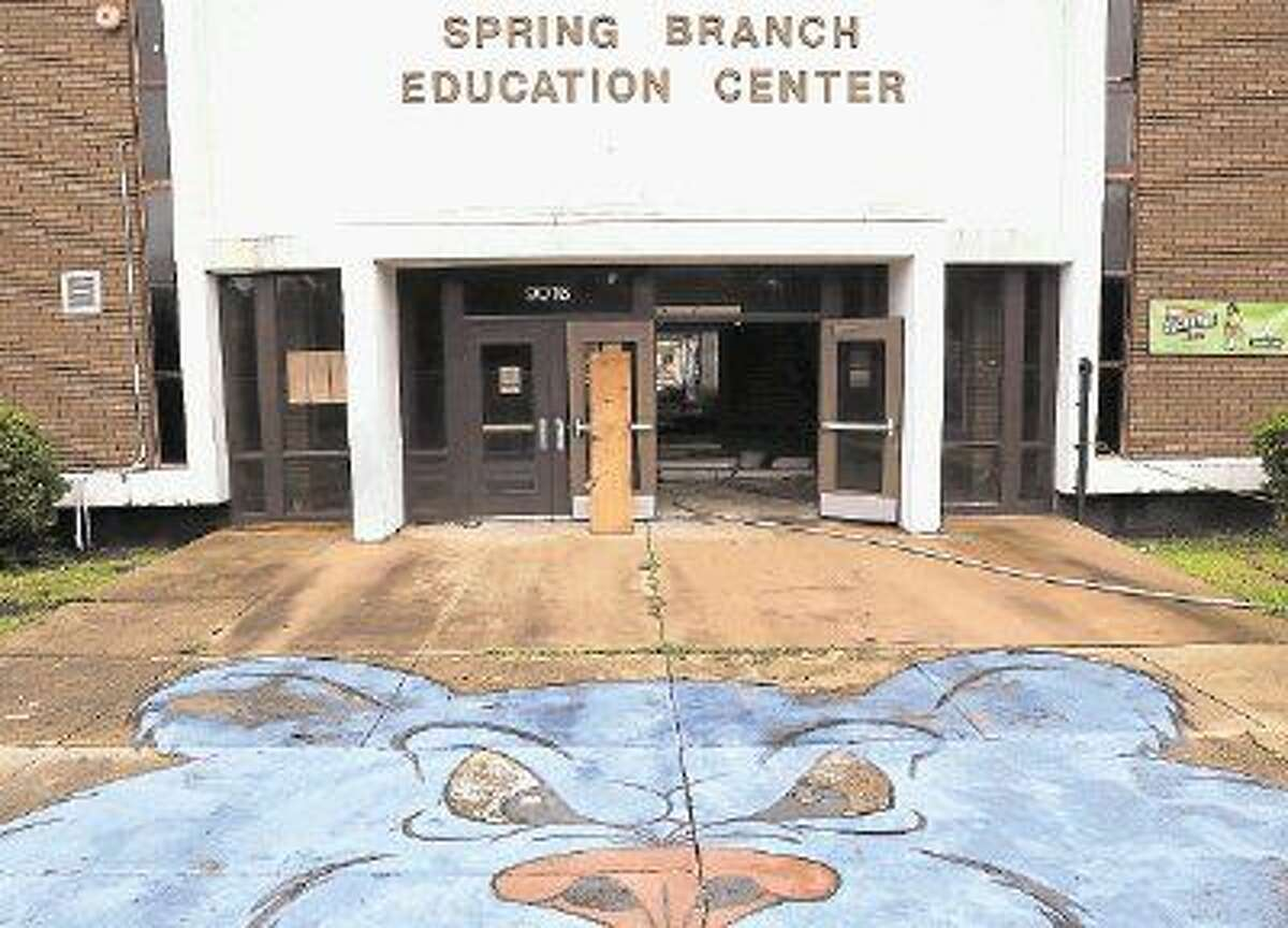 The iconic Bear outside the entrance to Spring Branch Education Center will disappear along with most of the building itself once demolition is complete. The former Spring Branch High School auditorium and library will remain and be paired with new wings for Spring Branch ISD's Academy of Choice and Cornerstone Academy.