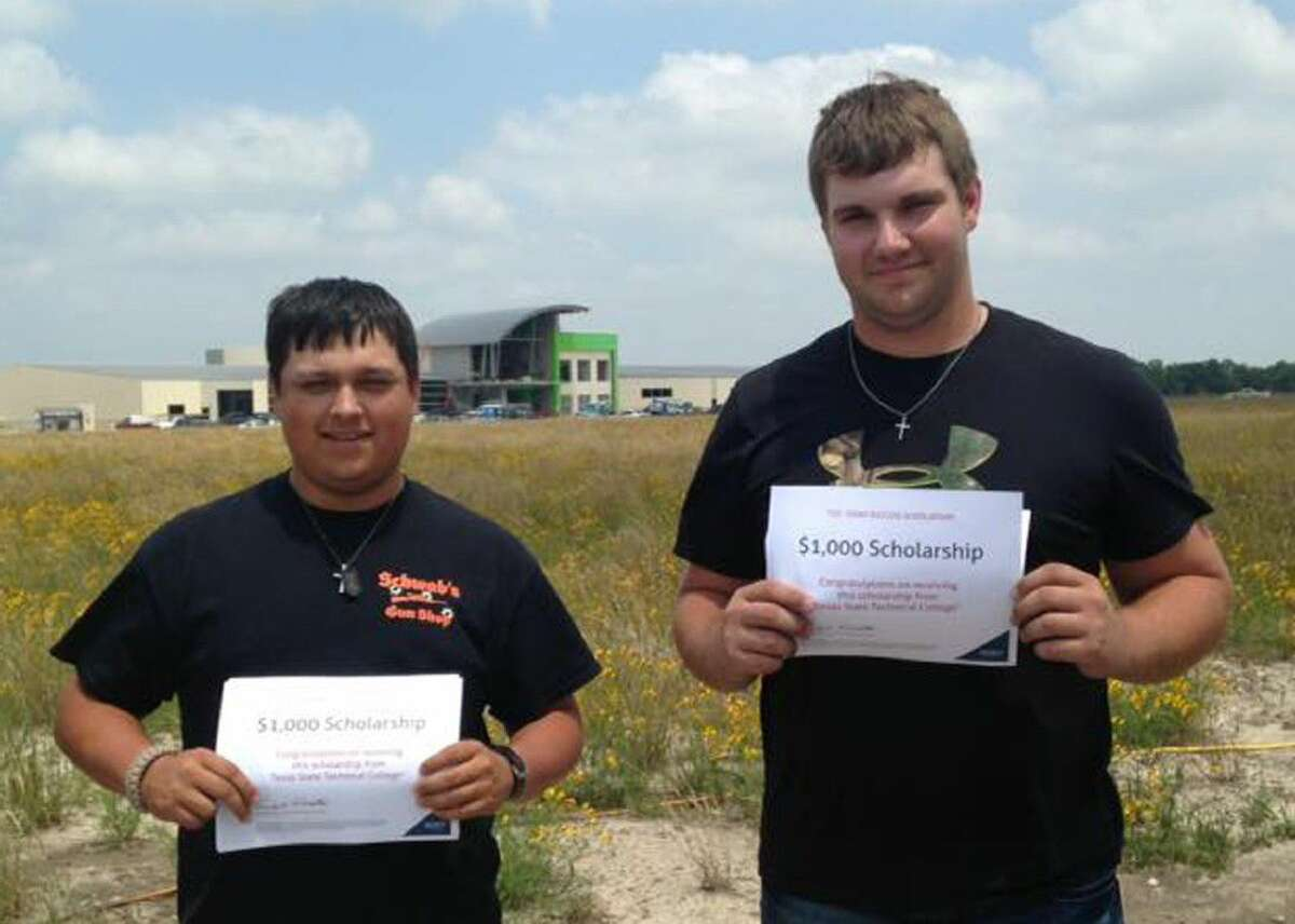 Dylan Gonzales & Jakob Hochdorf display their scholarships rewarded from donations from multiple county foundations. Both have enrolled at TSTC in Fort Bend County for Fall 2016.