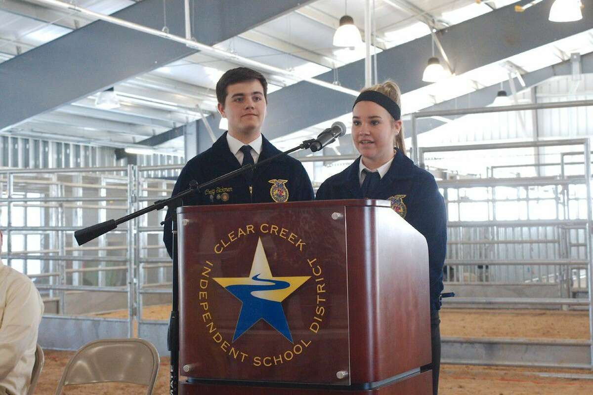 Clear Creek High School Student Craig Sickman and Clear Falls High School student Shelby Roussel speak about their FFA experiences during the grand opening of the East Agriculture Center Tuesday, May 3.