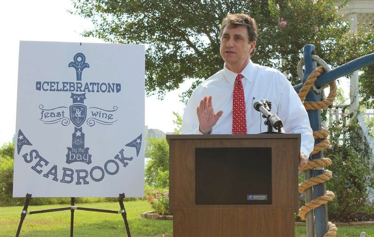 Seabrook Mayor Glenn Royal spoke at a press conference Tuesday morning on the renaming of Second Street to Main Street.