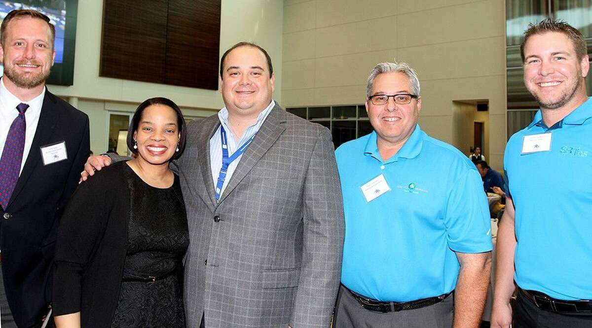 Pictured: Jimmy Spence, aerospace marking manager of Bay Area Houston Economic Partnership, Bernadette Marsh, Dobie counselor, Greg Mitchell, CTE business partner liaison, Paul Chapman, Albemarle Corp., and radio personality Chris Duncan of Service Radio.