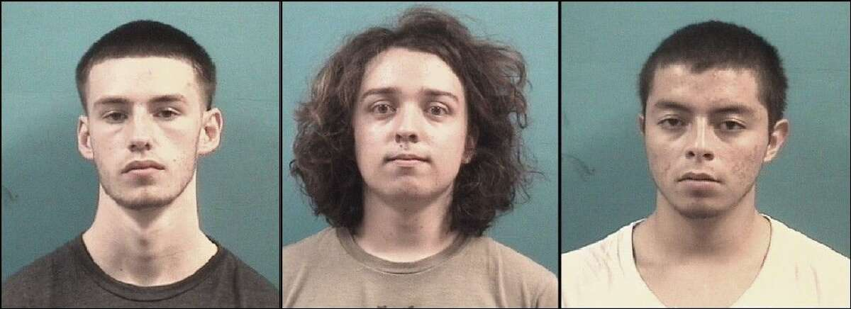 A group of Pearland high school students were recently jailed on felony organized crime charges in connection with an alleged burglary at a smoke shop. From left: Pace student Kelly Michael Lanclos, 17, Pearland High School student Collin Joseph Scott, 17, and Pace student Sergio Josue Benitez, 17, were arrested Sunday, Sept. 7. A 16 year-old juvenile suspect was also arrested.