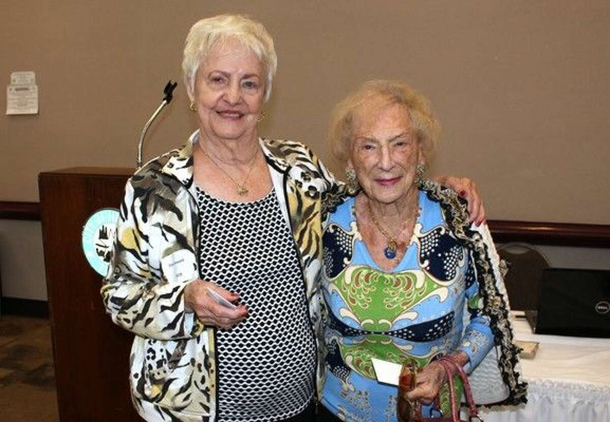 Eloise Howard and Shirley Lipton take home first prize from the Bridge tournament.