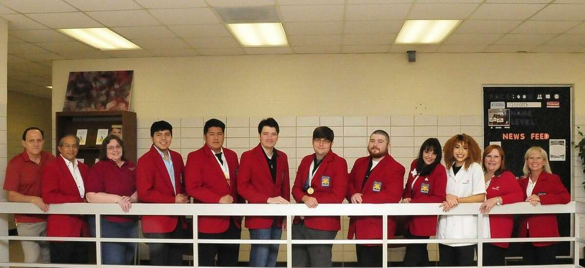 Pictured (left to right) William Buell, SkillsUSA advisor and engineering design graphics professor; David Castillo, SkillsUSA advisor and automotive professor; Pam Betts, SkillsUSA advisor and computer science professor; San Jacinto College students and Texas SkillsUSA winners Cesar Hernandez, Efrain Fermin, Cesar Perez, Bruce Crum, Kyle Walker, Trisha McCurdy, and Franasca D'Agostavo; Pandora Freestone, SkillsUSA advisor and cosmetology professor; and Dana Belt, SkillsUSA advisor and cosmetology professor. Photo credit: Jeannie Peng-Armao, San Jacinto College marketing, public relations, and government affairs department.