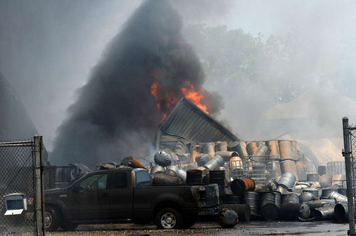 Four-alarm fire destroys Custom Packaging and Filling at  8960 Spring Branch Dr. in Houston on May 5. It appears that the entire facility is a complete loss.