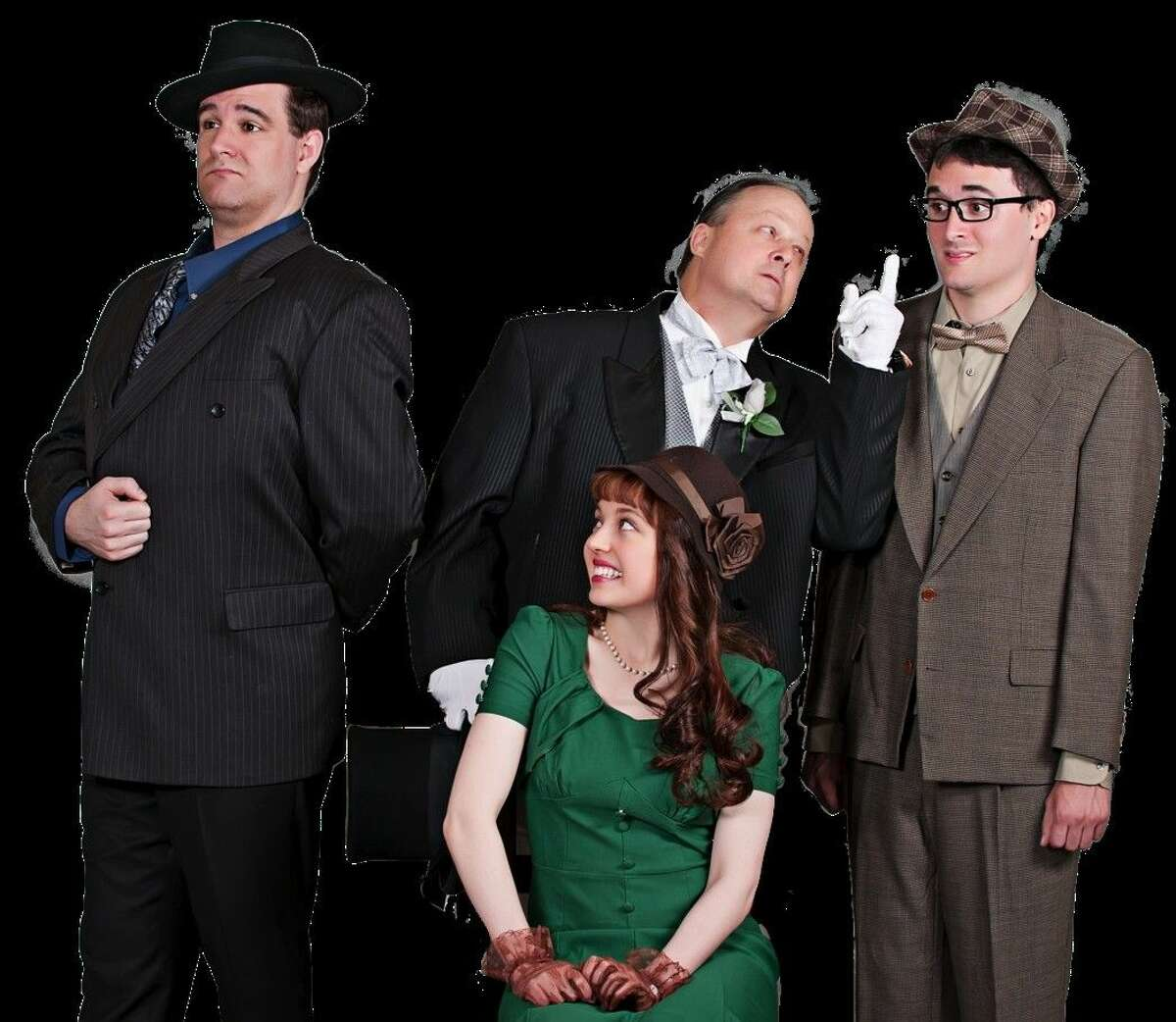 Pictured from left, Justin Finch (Tito Merelli), Kristen Malisewski (Maggie), Richard Hahn (Saunders), and Jordan O'Neal (Max) will perform in Houston Family Arts Center's production of Lend Me a Tenor. Performances are set for Sept. 4-27.