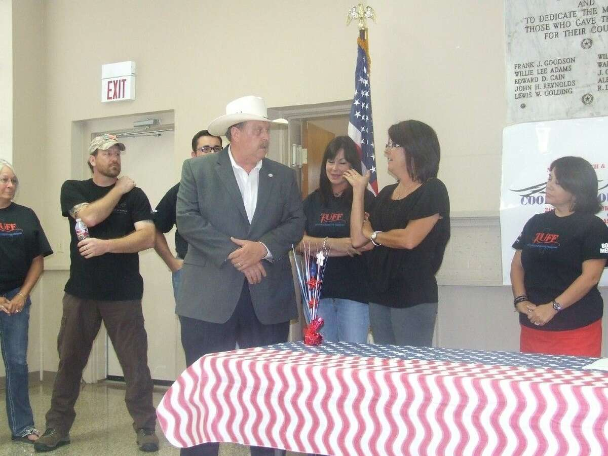 State Rep. Cecil Bell speaks at the TUFF open house on Aug. 27. Bell was one of the first to lend his support to Texans United For Freedom when it organized in Magnolia.