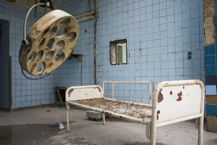 A room in an old abandoned Beelitz-Heilstaetten hospital in Germany