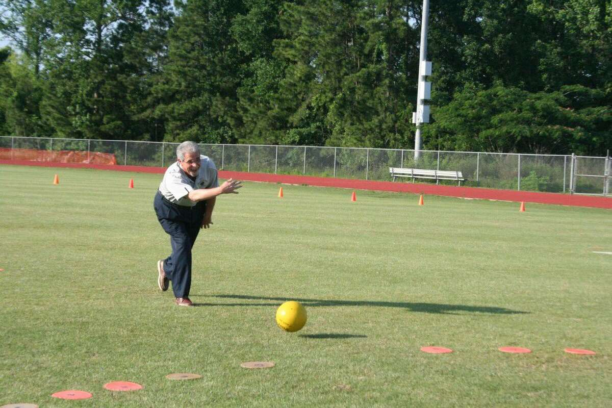 Even Humble Independent School District Superintendent Dr. Guy Sconzo got in on the fun and rolled out the first pitch to get the kickball game started.