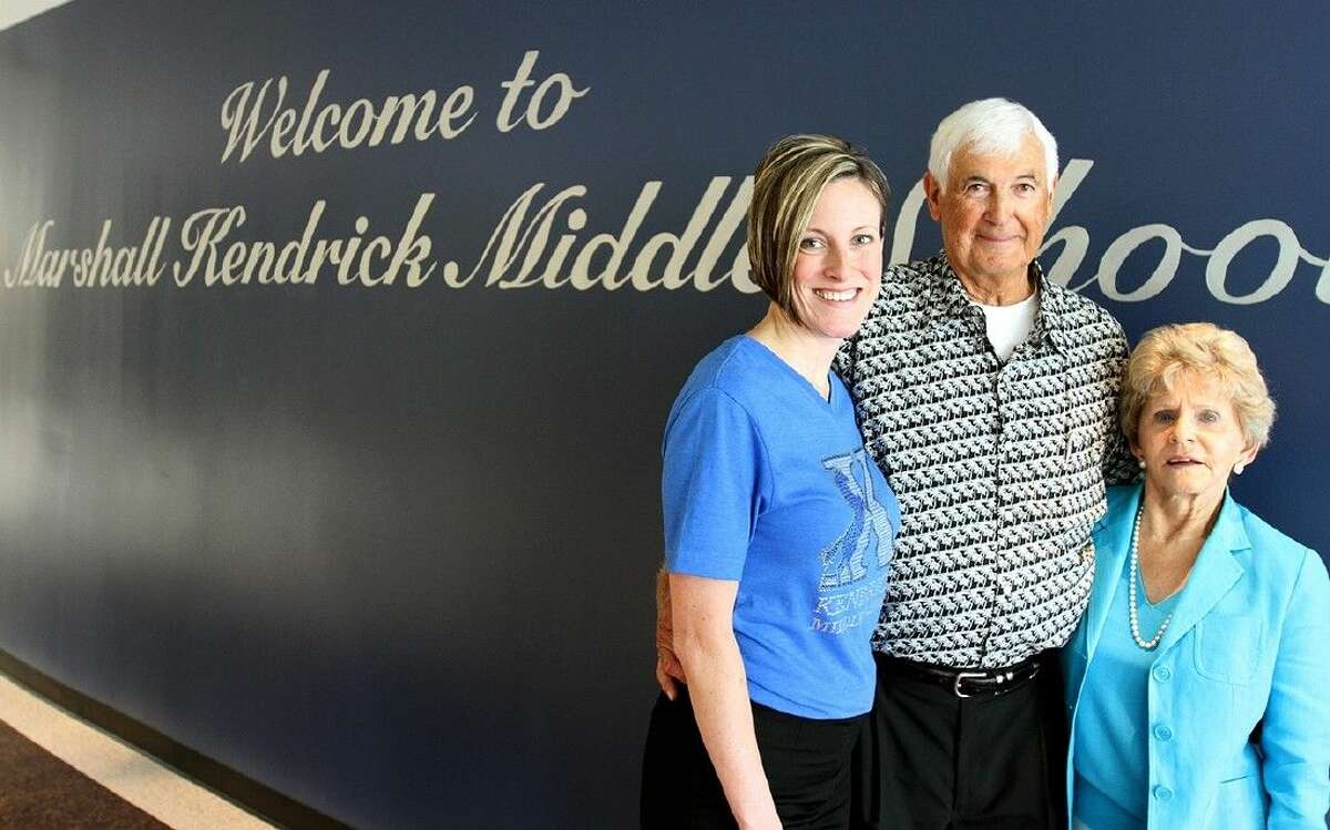 Pictured (from left): Principal Melissa Messenger, Pasadena ISD Board of Trustee member Marshall Kendrick and his wife, Denie.