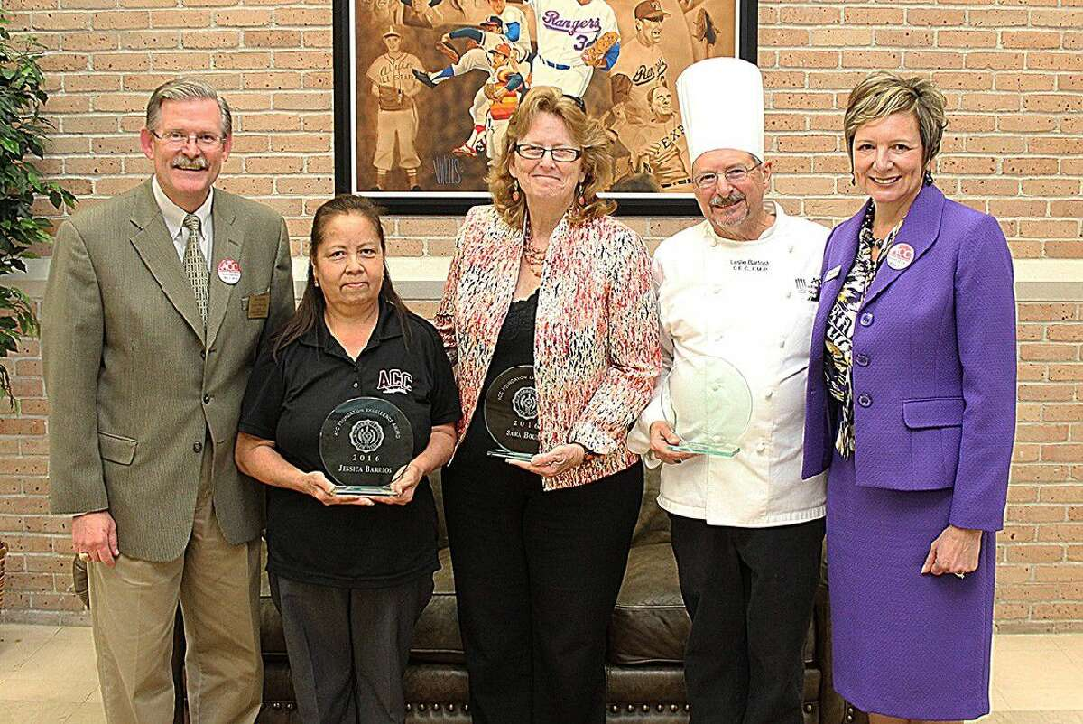The winners of the ACC Foundation Excellence Awards are, second from left, housekeeper Jessica Barrios, TDCJ counselor Sara Bouse and Culinary Arts chair Leslie Bartosh. ACC President Dr. Christal M. Albrecht is far right and ACC Foundation President Jim Crumm is far left.