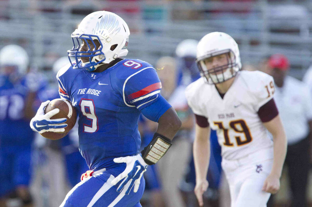 Oak Ridge running back Kwame Etwi runs for a the first of two touchdowns in the first half of a high school football game at Woodforest Bank Stadium Saturday. Deer Park defeated Oak Ridge 45-38. To view or purchase this photo and others like it, visit HCNpics.com.