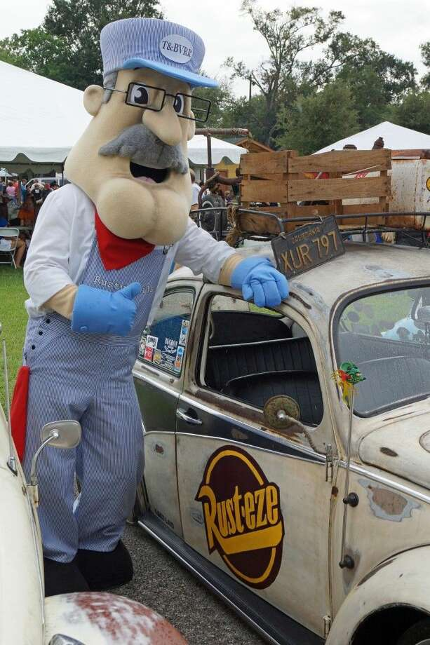 Tomball's mascot, Rusty Rails is making the rounds at the annual Bugs, Brew & Barbecue at Depot Plaza in downtown Tomball. More than 125 classic VWs are expected at the event scheduled on Sept. 26 at the historic downtown Depot. Photo: Submitted