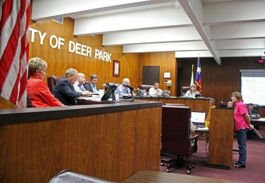 """Deer Park-resident Carol Greer recently spoke before the Deer Park City Council to lobby for a resolution to oppose detention centers for illegal immigrants in Deer Park. """"I thank you for letting us speak. There are many city councils that do not allow this. Pasadena is one of them. We've heard from people who say they are not allowed to speak in Pasadena. They are governed by one person and that person is taking over. But, a lot of people are getting interested in speaking up now that are residents of other cities. When they are stopped that's when civil lawsuits take place."""" Photo: Kristi Nix"""