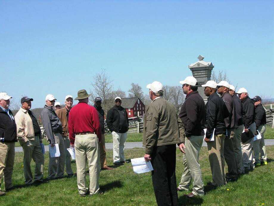 Superintendents in military formation as U.S. Army War College historian brings to life the Gettysburg Campaign.
