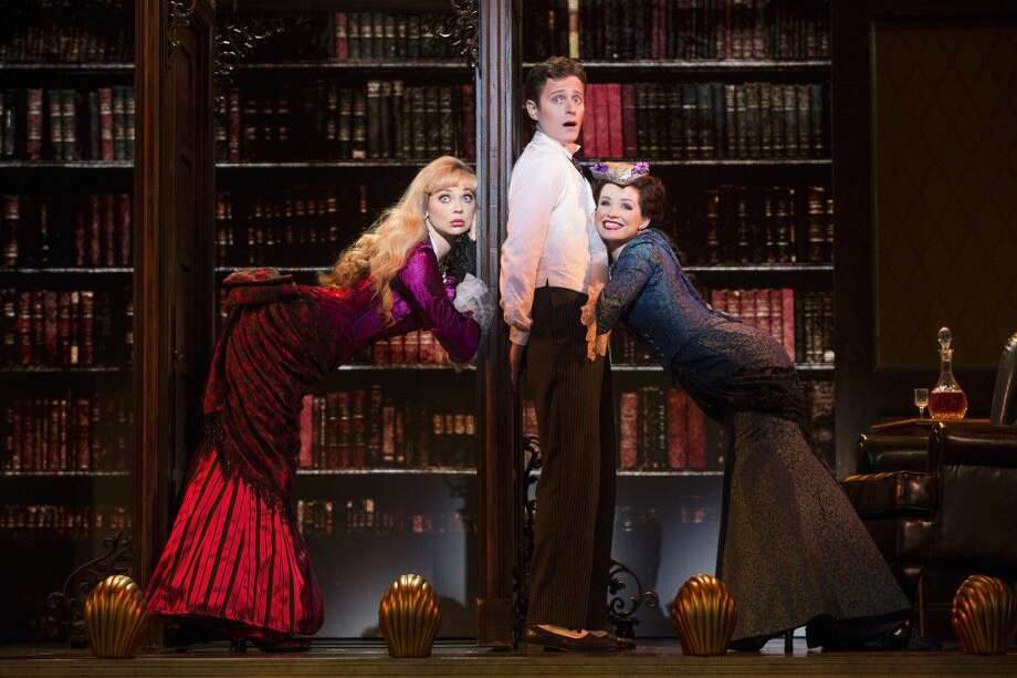 National Touring Company cast members, from left, Kristen Beth Williams as Sibella Hallward, Kevin Massey as Monty Navarro and Adrienne Eller as Phoebe D'Ysquith in a scene from A Gentleman's Guide to Love & Murder. Photo: Courtesy Photo