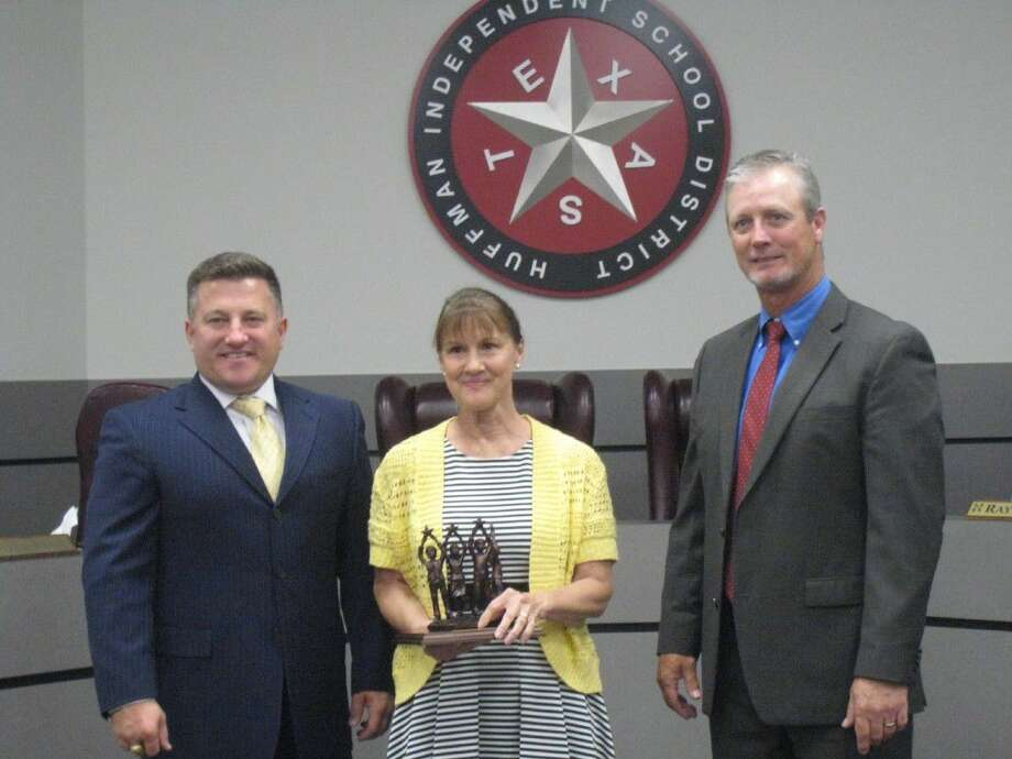Longtime Huffman ISD board member Becky Streetman was honored for her hard work and dedication at the May 10, 2016 board meeting. Streetman resigned from the board effective Tuesday to move to Oklahoma to be closer to family including her great-grandchild.