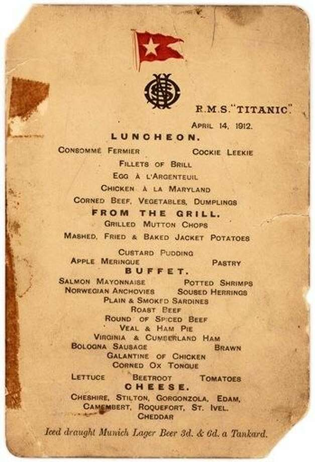 "This menu — saved by a passenger who climbed aboard the so-called ""Money Boat"" before the ocean liner went down — will be sold by Lion Heart Autographs, an online New York auctioneer, along with two other previously unknown artifacts from Lifeboat 1 on Sept. 30. Photo: HONS"