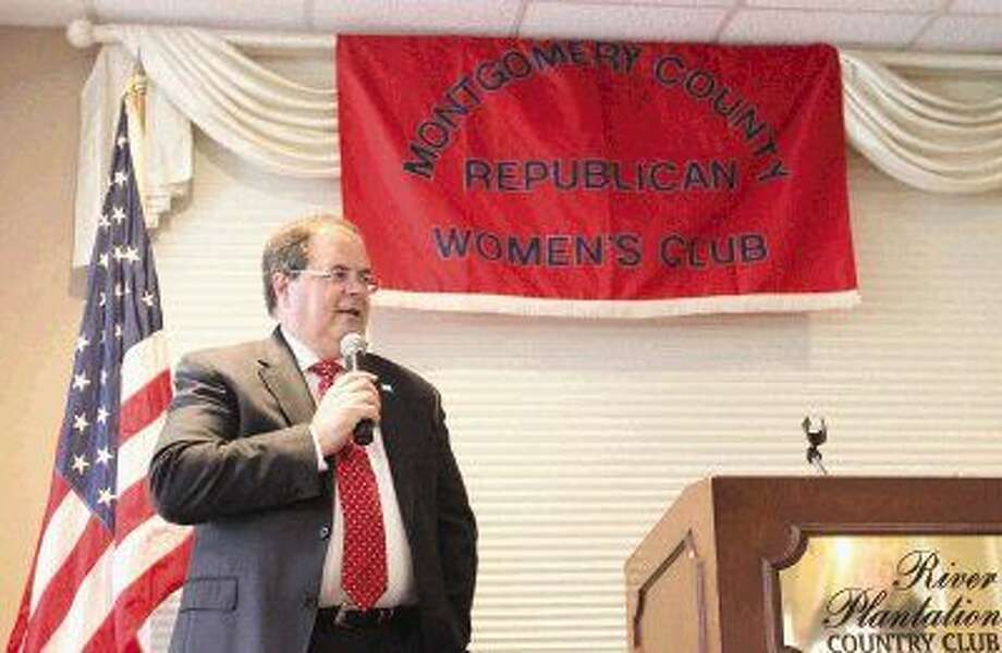 Bob Price speaks during the Montgomery County Republican Women's meeting at River Plantation Thursday.