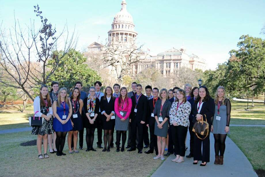 Magnolia ISD Student Leadership cohort on the lawn of the State Capitol. Photo: Submitted