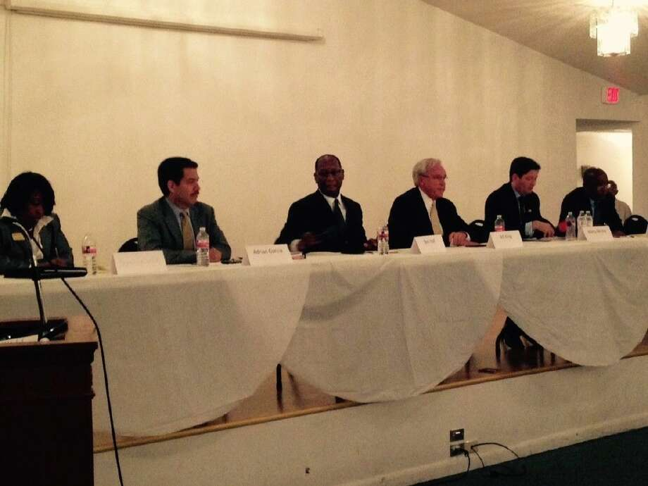 Mayoral candidates from left incluce Demetria Smith, Adrian Garcia, Ben Hall, Bill King, Marty McVey and Sylvester Turner. Photo: Taelor Smith