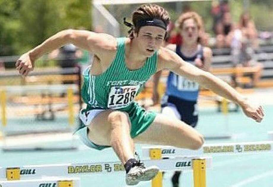 Fort Bend Christian senior Tyler Hart won the silver medal in the 300-meter hurdles at the TAPPS state championships. His time of 38.02 surpassed the previous state record. Photo: Fort Bend Christian Academy