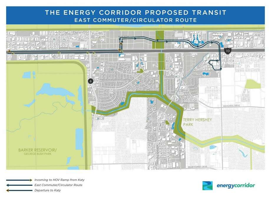 One commuter route would proceed east on Park Row to Dairy Ashford. This route would provide ttansit to the business communities in that area.