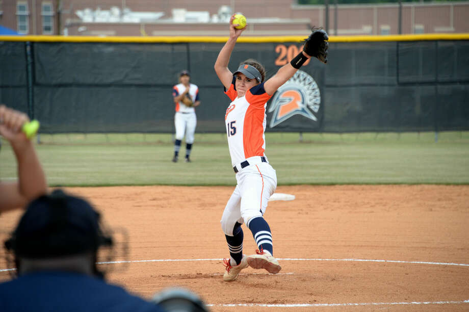 Seven Lakes senior Brooke Tomalty pitched two shutouts to lead the Lady Spartans to a three-game victory against Mayde Creek in the Region III-6A quarterfinals. Visit HCNPics.com for more photos. Photo: Craig Moseley