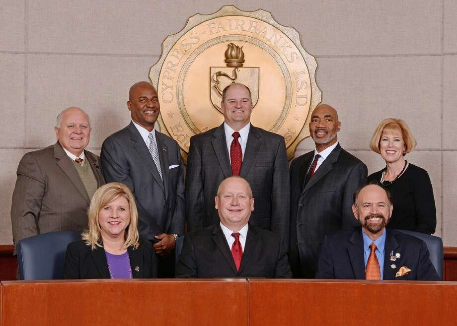 The CFISD Board of Trustees is one of five state finalists for the 2015 TASA Outstanding School Board. Members include (front row, L-R) Christine Hartley, secretary; Don Ryan, president; and Tom Jackson, vice president; and (back row, L-R) Bob Covey, trustee; Kevin H. Hoffman, trustee; Dr. Mark Henry, superintendent; Dr. John Ogletree Jr., trustee; and Darcy Mingoia, trustee.