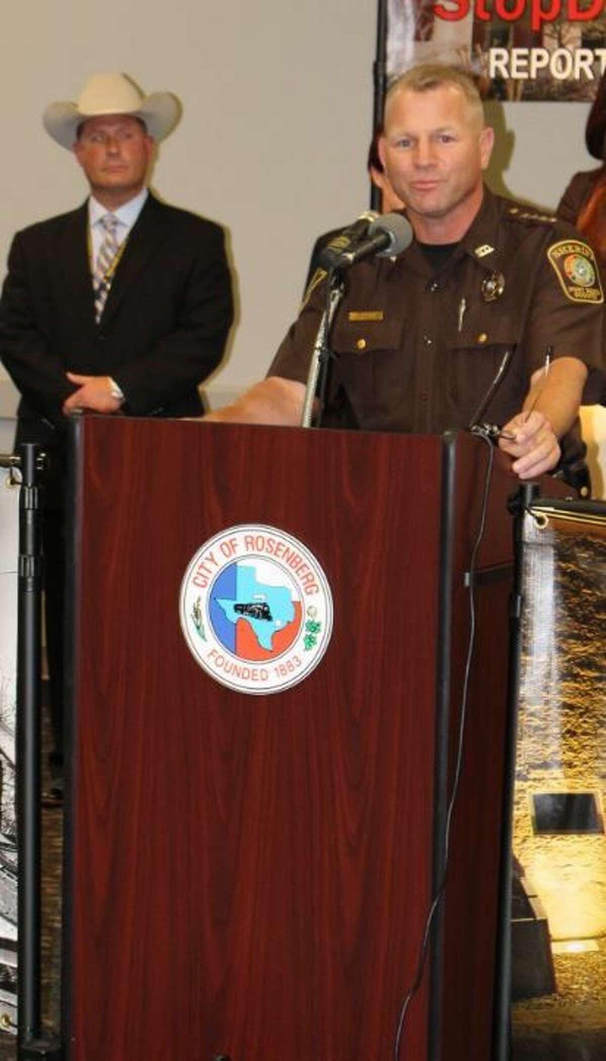 Fort Bend County Sheriff Troy E. Nehls spoke briefly at the event lasy Wednesday, May 11, sharing his appreciation on the development of the new website that will combat drug operations in Fort Bend County.