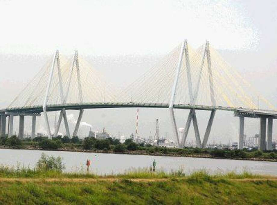 The Fred Hartman bridge spans the Houston Ship Channel.