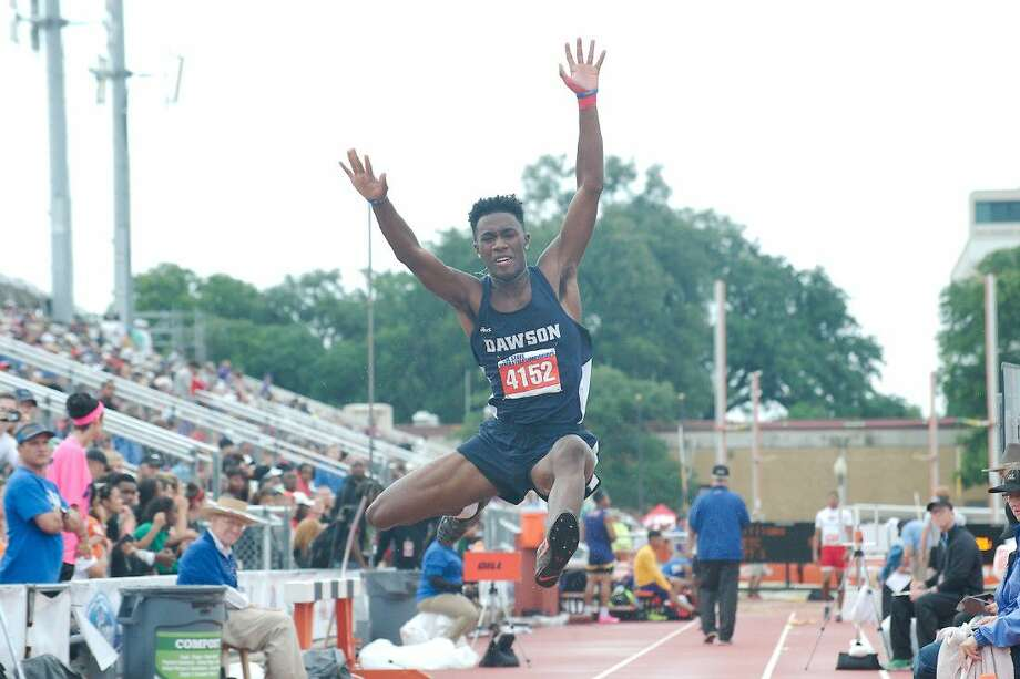 Kameron Hypolite of Dawson competes in the Class 6A boys long jump at the UIL State Track and Field Championships Saturday in Austin. Photo: Kirk Sides